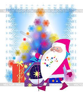 Santa Claus und Weihnachtsbaum - Vector-Clipart EPS