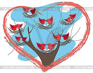 Vogel-Paare auf den Nestern - Vektorgrafik-Design