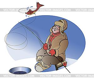 Fischer auf See Winter - Vektor-Klipart