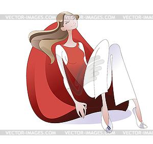 Mädchen im roten Sessel - Vector-Bild