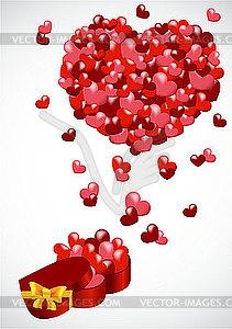Geschenk mit Herzen - Vector-Clipart / Vektor-Bild