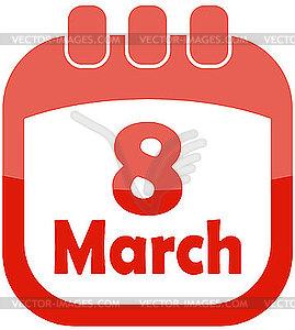 Kalender-Icon für 8. März - Vector Clip Art