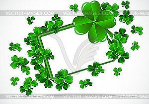 Rahmen zu St. Patrick`s Day mit Dreiblättern - Vektor-Clipart / Vektor-Bild