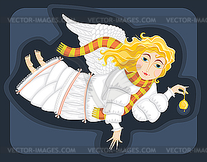 Engel mit Glocke - vektorisierte Abbildung