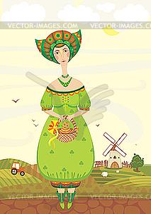 Mädchen im Volkstracht in ländlicher Landschaft - Vector-Illustration
