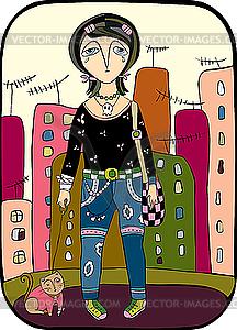 Mädchen spaziert in einer Stadt mit Katze - Vector-Clipart / Vektor-Bild