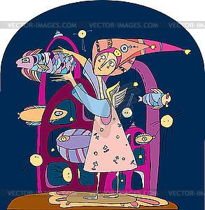 Rosa Mädchen und Fische - vektorisiertes Clipart