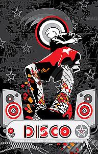 Mädchen im roten Rock - Disco-Musik - Stock Vektorgrafik