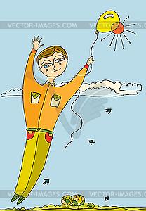 Junge fliegt mit Luftballon - Vector-Design