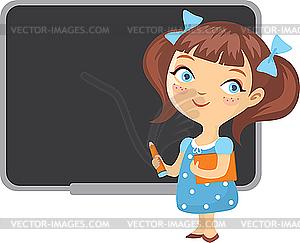 Mädchen am Schultafel - vektorisierte Grafik