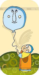 Kind mit einem Luftballon - Clipart-Design