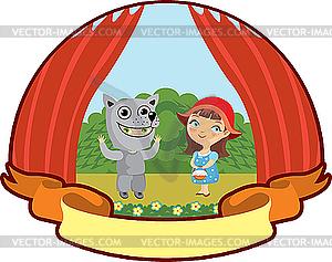 Rotkäppchen und der Wolf im Kinder-Theater - Stock Vektor-Bild
