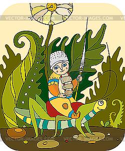 Ritter an der Heuschrecke im Gras - Vektor-Bild