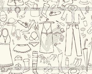 Nahtlose Hintergrund Woman Things - Clipart-Bild
