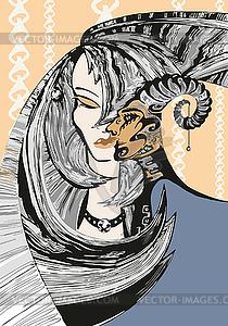 Schönes Mädchen mit dem Kopf von Satyr - Vektor-Clipart EPS