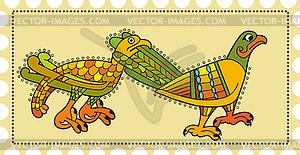 Briefmarke mit keltischen ornamentalen Vögeln - Royalty-Free Vektor-Clipart