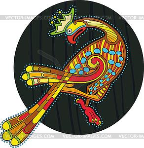 Kreis mit buntem keltischen Vogel - Vektor Clip Art