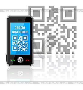 Handy mit QR-Code - vektorisiertes Clip-Art