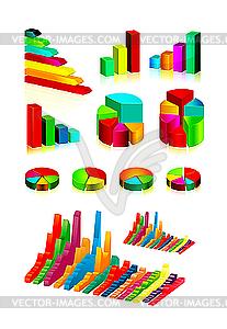 Set aus glänzendem Grafiken und Diagramme - Vector-Clipart EPS