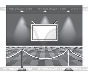 Gallerie - Interieur mit leerer Wand und Licht - Vector Clip Art
