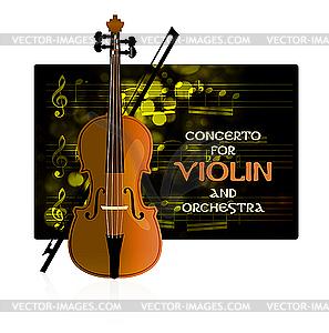 Violine mit Noten und Bogen - Vektorgrafik-Design