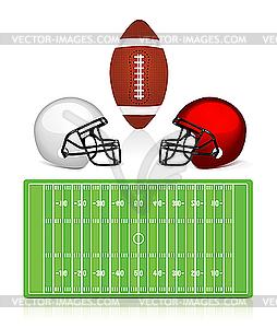 American Football - Feld, Ball und Helm - Vektor-Clipart