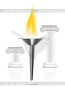 Olympische Fackel mit Flamme - Vector Clip Art