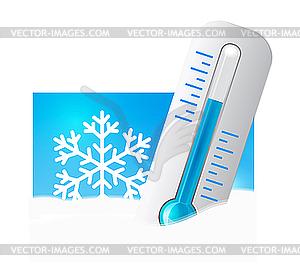 Термометр в снегу - клипарт в векторе / векторное изображение