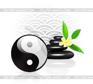 Feng Shui Hintergrund mit Yin Yang Symbol - Vektor Clip Art