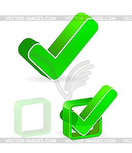 Grünes Kontrollkästchen mit Häkchen - Vektor-Design