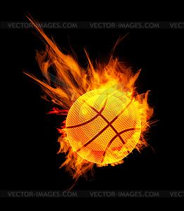 Basketball im Feuer - Vektor Clip Art