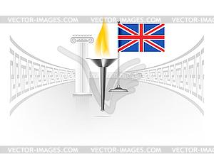 England-Flagge mit Fackel - vektorisiertes Design