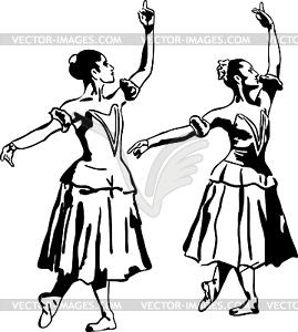 Mädchen Ballerin in einer Pose - vektorisierte Grafik