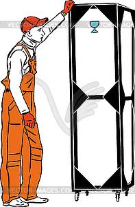 Ein Hafenarbeiter in orange Kombination hält Box - Vektor-Illustration