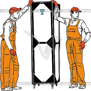 Zwei Hafenarbeiter in orange Kombinationen halten box - Vector-Clipart