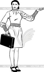 Eine Skizze ein Mädchen mit einer Aktentasche legt eine Hand - Vektor-Clipart / Vektor-Bild