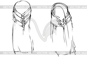 Frau für lange Haare Art Frisur mit hinter - Vector-Clipart EPS