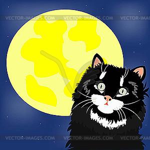 Schwarze Katze und Mond - Vektor-Design