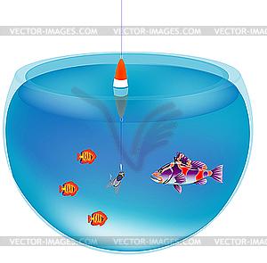 Angeln im Aquarium - Vector-Clipart / Vektorgrafik