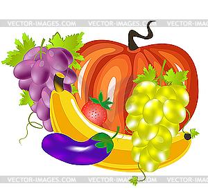 Obst und Gemüse - Vektorgrafik