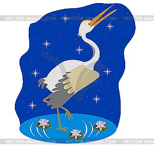 Stork auf dem Wasser in der Nacht - Vektor Clip Art