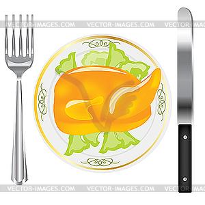 Schinken auf dem Teller - Vektor-Clipart / Vektor-Bild