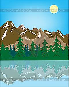 Berglandschaft mit Reflexion im Wasser - Stock Vektor-Clipart