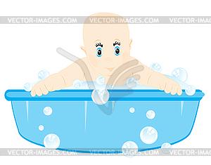 Kleines Kind wird in Becken gewaschen - Vector-Bild