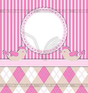 Baby-Geburtskarte mit Vögeln - farbige Vektorgrafik