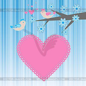 Zwei Vögel in der Liebe - vektorisiertes Clipart
