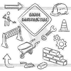 under construction clipart black and white Under Construction - vector    Under Construction Clipart Black And White