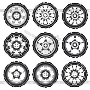 Autoräder mit Leichtmetallrädern - Vektor-Clipart / Vektorgrafik