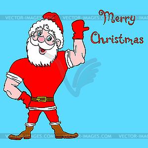 Weihnachtsmann Bodybuilder - farbige Vektorgrafik