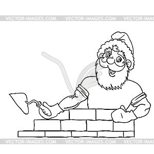 Santa Claus muskulös baut ein Haus aus Backsteinen. - Vektor-Clipart EPS